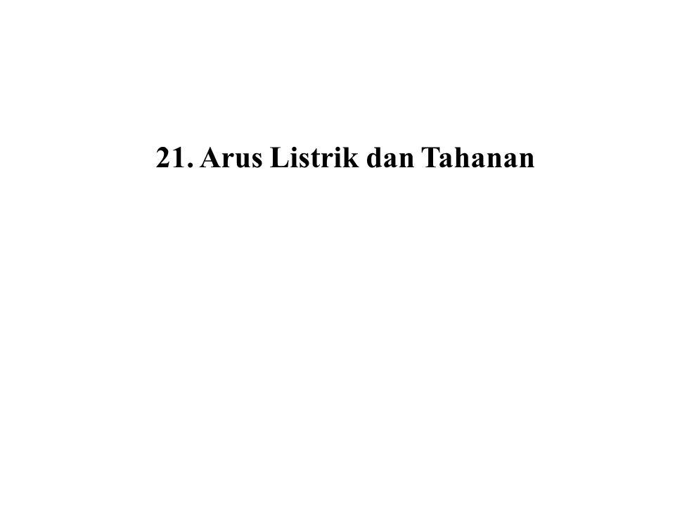 (21.8) Tahanan Jenis (resistivitas) didefinisikan sebagai Medan listrik (21.9) Dari persamaan (21.5) Substitusi (21.5) dan (21.9) ke (21.8) didapat (21.10) Persamaan (21.7) dekivalen dengan (21.10)