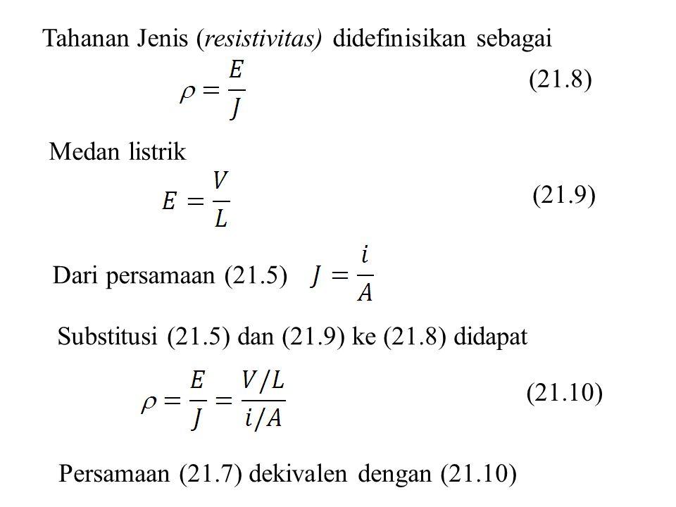 (21.8) Tahanan Jenis (resistivitas) didefinisikan sebagai Medan listrik (21.9) Dari persamaan (21.5) Substitusi (21.5) dan (21.9) ke (21.8) didapat (2