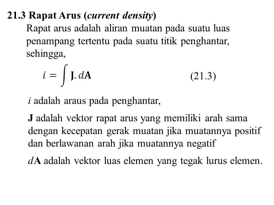 21.3 Rapat Arus (current density) Rapat arus adalah aliran muatan pada suatu luas penampang tertentu pada suatu titik penghantar, sehingga, i adalah a