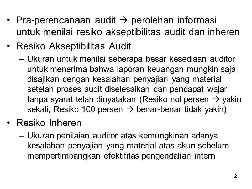 2 Pra-perencanaan audit  perolehan informasi untuk menilai resiko akseptibilitas audit dan inheren Resiko Akseptibilitas Audit –Ukuran untuk menilai