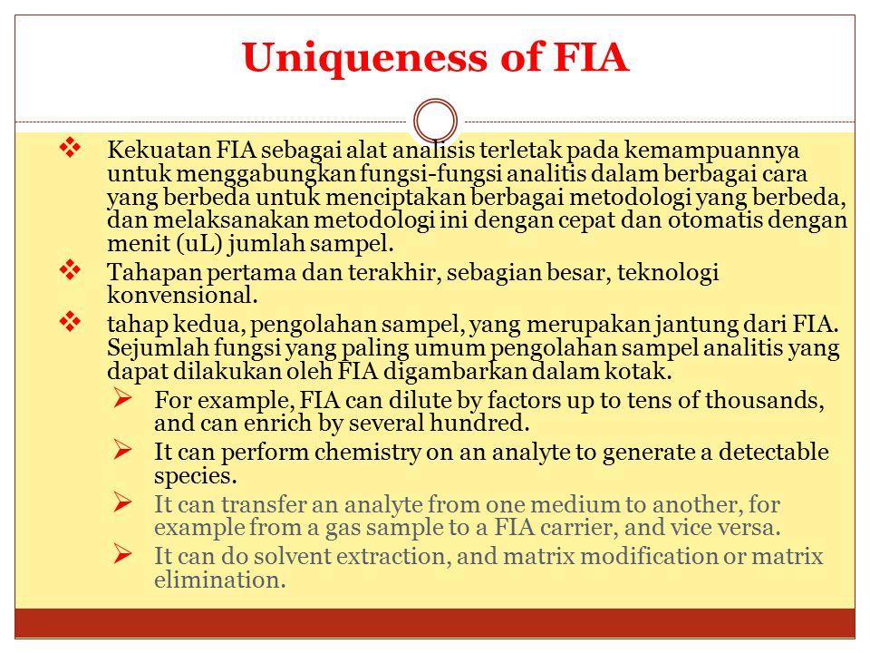 Uniqueness of FIA  Kekuatan FIA sebagai alat analisis terletak pada kemampuannya untuk menggabungkan fungsi-fungsi analitis dalam berbagai cara yang berbeda untuk menciptakan berbagai metodologi yang berbeda, dan melaksanakan metodologi ini dengan cepat dan otomatis dengan menit (uL) jumlah sampel.