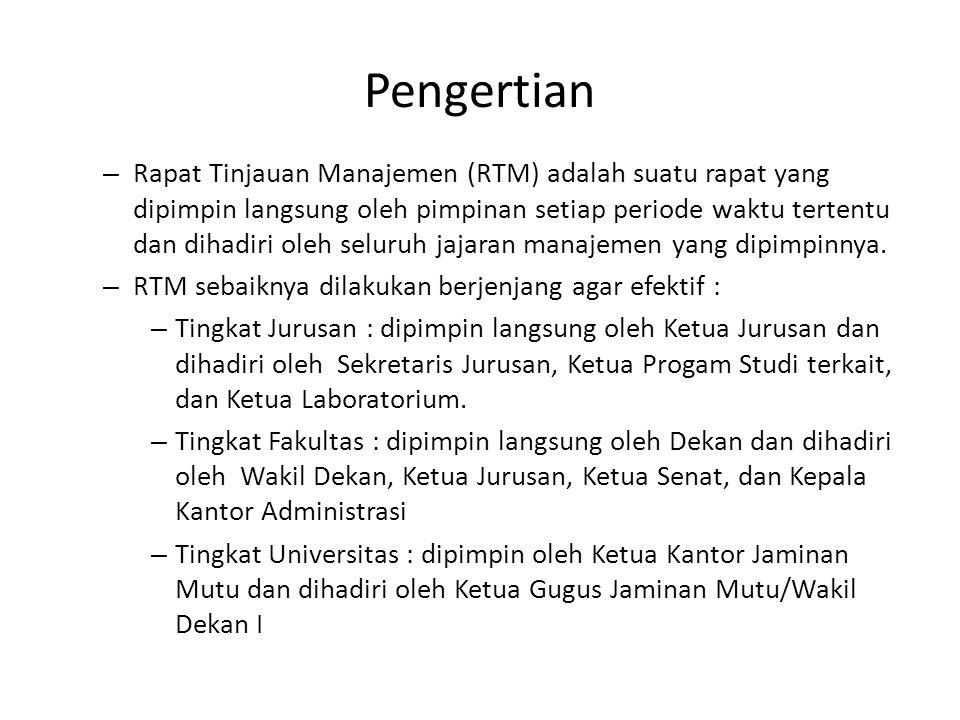 – RTM tingkat fakultas dilakukan setelah pelaksanaan RTM tingkat jurusan, RTM Universitas dilakukan setelah pelaksanaan RTM tingkat fakultas.