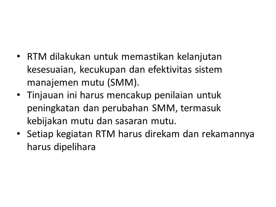 Materi RTM Materi RTM berupa: Hasil/temuan audit umpan balik pelanggan (keluhan pelanggan, survei kepuasan pelanggan) Kinerja layanan/ kinerja dosen analisa kesesuaian kompetensi, atau kesesuaian layanan lainnya) Status tindak lanjut PTK tindak lanjut dari RTM sebelumnya, perubahan SMM Usulan peningkatan SMM