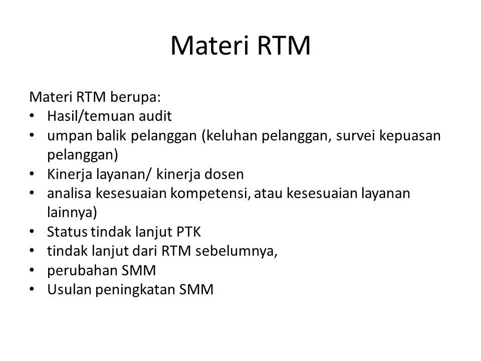 Hasil RTM Hasil RTM yang diharapkan dapat berupa: Peningkatan efektivitas SMM dan prosesnya peningkatan hasil layanan yang menuju terpenuhinya persyaratan pelanggan, Pemenuhan kebutuhan sumber daya.