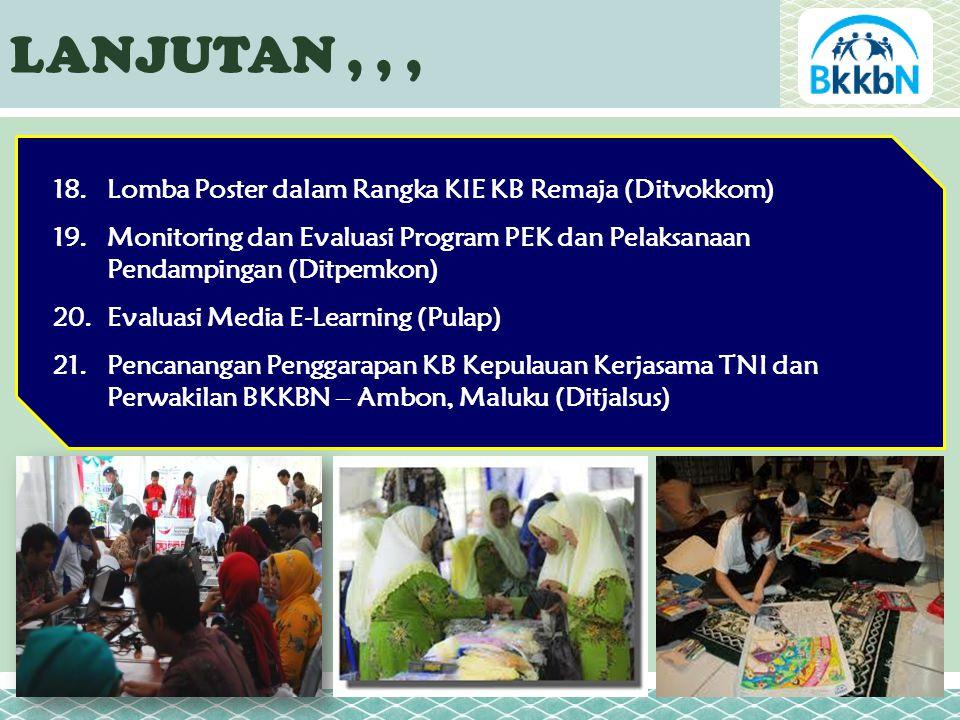 LANJUTAN,,, 18.Lomba Poster dalam Rangka KIE KB Remaja (Ditvokkom) 19.Monitoring dan Evaluasi Program PEK dan Pelaksanaan Pendampingan (Ditpemkon) 20.Evaluasi Media E-Learning (Pulap) 21.Pencanangan Penggarapan KB Kepulauan Kerjasama TNI dan Perwakilan BKKBN – Ambon, Maluku (Ditjalsus)