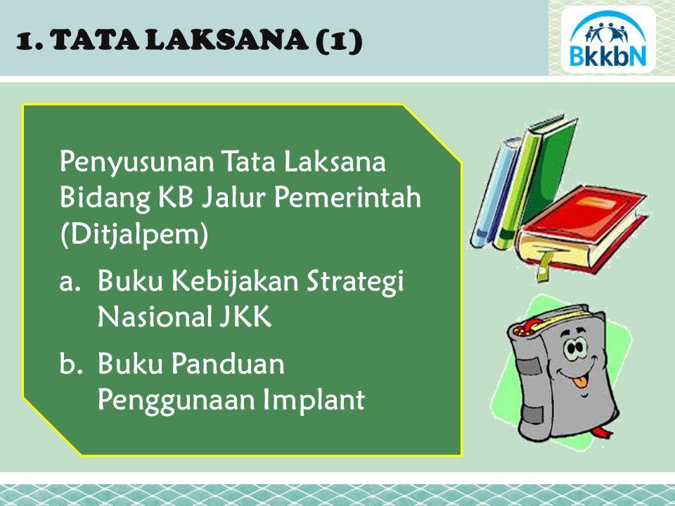 Penyusunan Tata Laksana Bidang KB Jalur Pemerintah (Ditjalpem) a.Buku Kebijakan Strategi Nasional JKK b.Buku Panduan Penggunaan Implant 1.