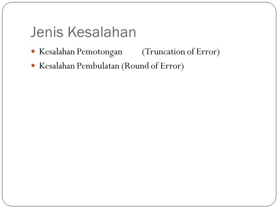 Jenis Kesalahan Kesalahan Pemotongan (Truncation of Error) Kesalahan Pembulatan (Round of Error)