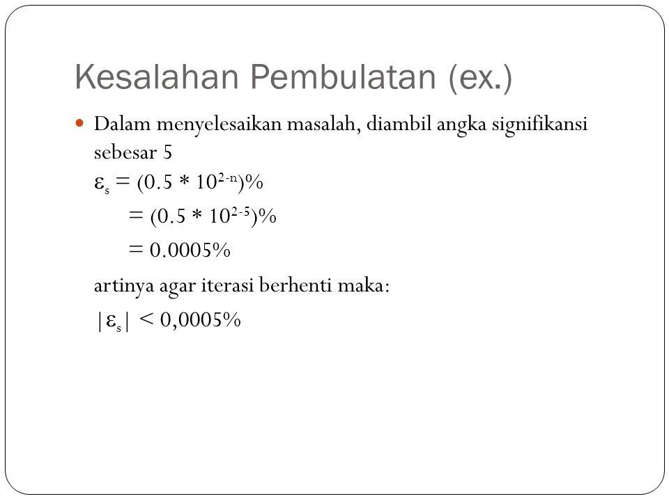 Kesalahan Pembulatan (ex.) Dalam menyelesaikan masalah, diambil angka signifikansi sebesar 5  s = (0.5 * 10 2-n )% = (0.5 * 10 2-5 )% = 0.0005% artinya agar iterasi berhenti maka: |  s | < 0,0005%