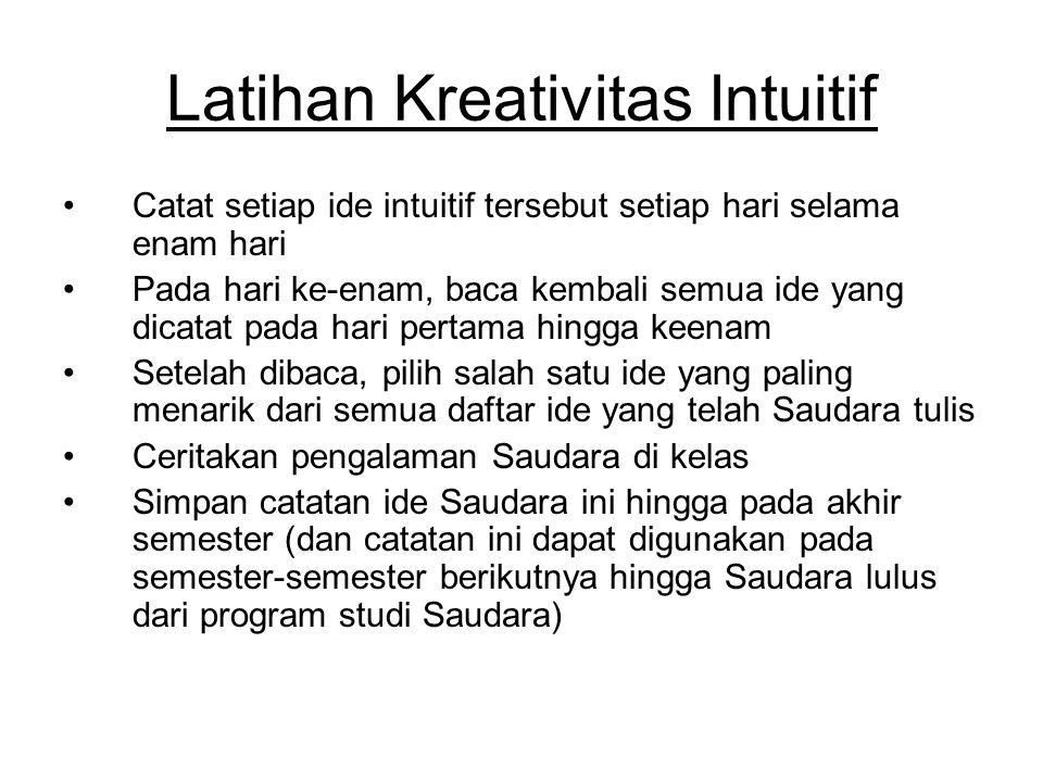 Latihan Kreativitas Intuitif Catat setiap ide intuitif tersebut setiap hari selama enam hari Pada hari ke-enam, baca kembali semua ide yang dicatat pa