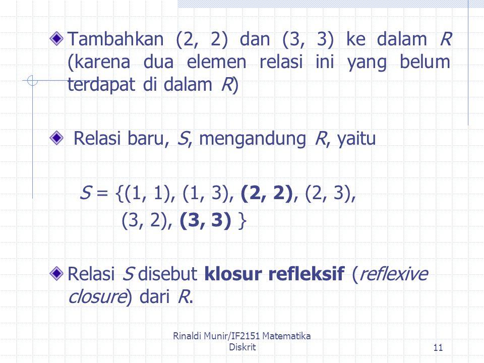 Rinaldi Munir/IF2151 Matematika Diskrit11 Tambahkan (2, 2) dan (3, 3) ke dalam R (karena dua elemen relasi ini yang belum terdapat di dalam R) Relasi baru, S, mengandung R, yaitu S = {(1, 1), (1, 3), (2, 2), (2, 3), (3, 2), (3, 3) } Relasi S disebut klosur refleksif (reflexive closure) dari R.