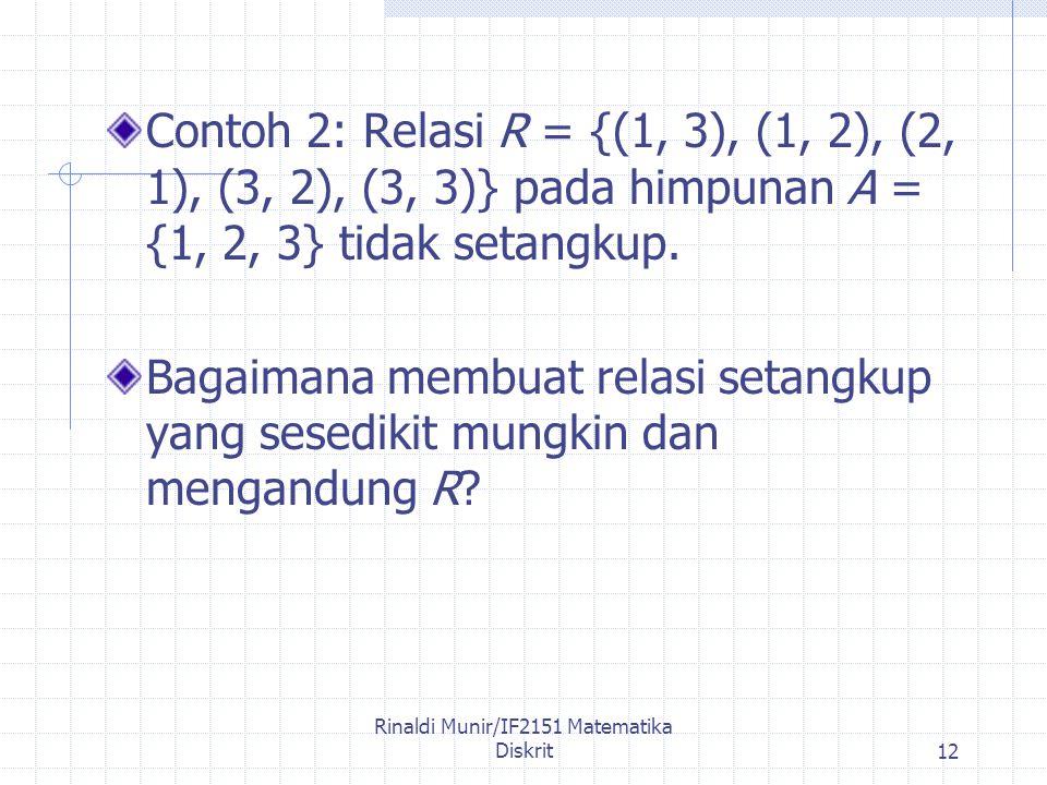 Rinaldi Munir/IF2151 Matematika Diskrit12 Contoh 2: Relasi R = {(1, 3), (1, 2), (2, 1), (3, 2), (3, 3)} pada himpunan A = {1, 2, 3} tidak setangkup.