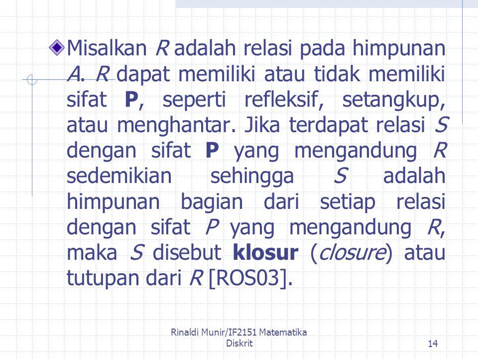 Rinaldi Munir/IF2151 Matematika Diskrit14 Misalkan R adalah relasi pada himpunan A.