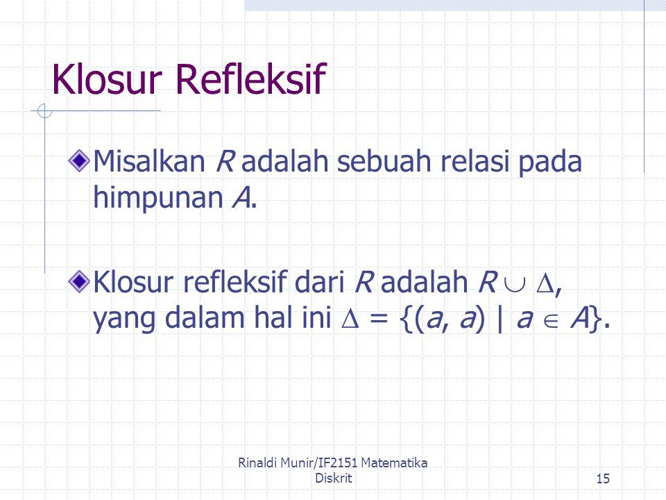 Rinaldi Munir/IF2151 Matematika Diskrit15 Klosur Refleksif Misalkan R adalah sebuah relasi pada himpunan A.