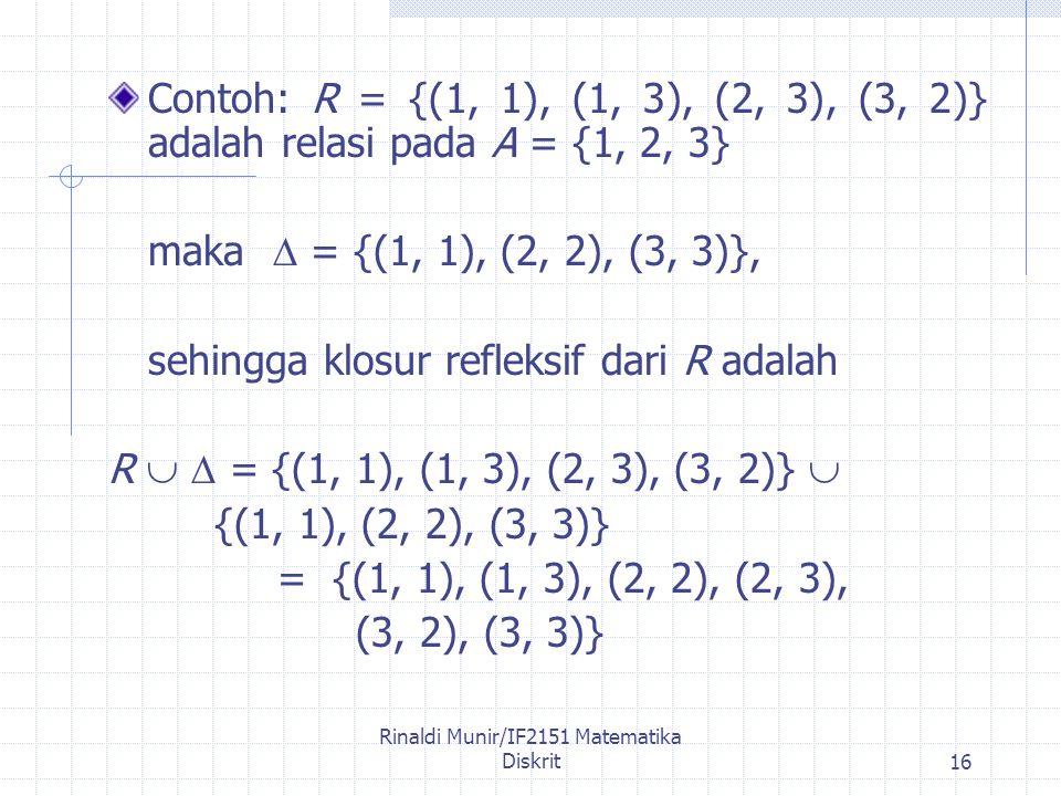 Rinaldi Munir/IF2151 Matematika Diskrit16 Contoh: R = {(1, 1), (1, 3), (2, 3), (3, 2)} adalah relasi pada A = {1, 2, 3} maka  = {(1, 1), (2, 2), (3, 3)}, sehingga klosur refleksif dari R adalah R   = {(1, 1), (1, 3), (2, 3), (3, 2)}  {(1, 1), (2, 2), (3, 3)} = {(1, 1), (1, 3), (2, 2), (2, 3), (3, 2), (3, 3)}