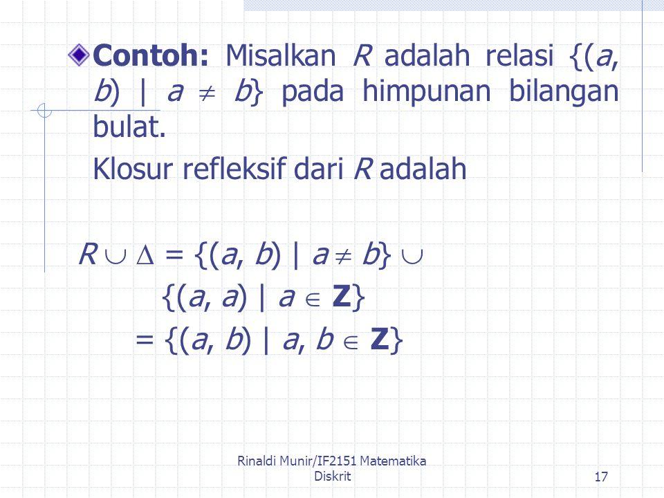 Rinaldi Munir/IF2151 Matematika Diskrit17 Contoh: Misalkan R adalah relasi {(a, b) | a  b} pada himpunan bilangan bulat.