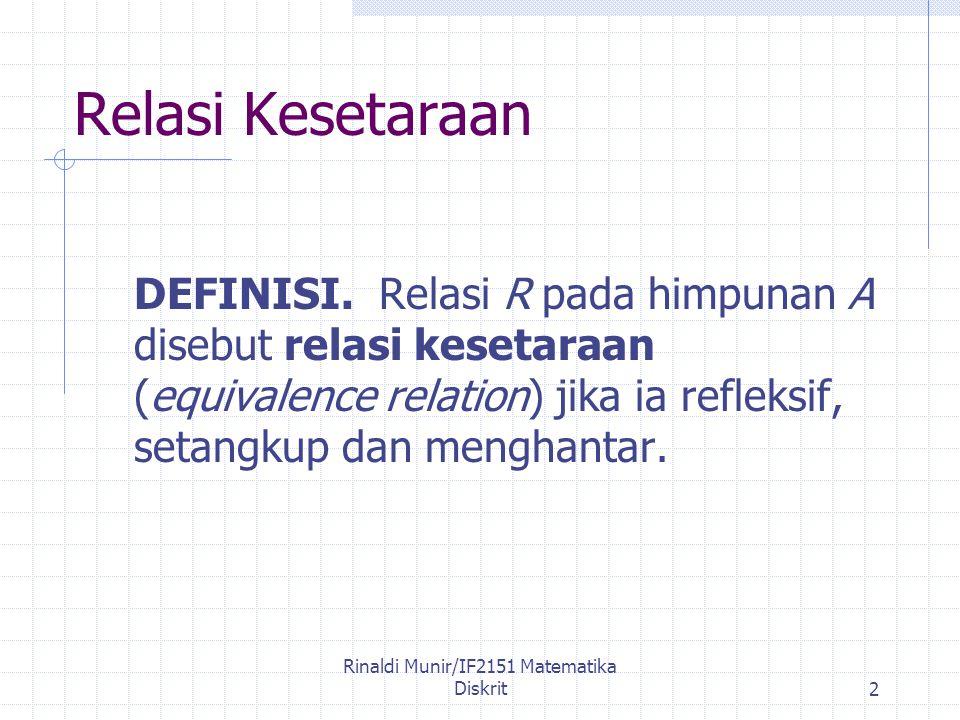 Rinaldi Munir/IF2151 Matematika Diskrit2 Relasi Kesetaraan DEFINISI.