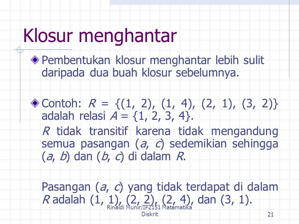 Rinaldi Munir/IF2151 Matematika Diskrit21 Klosur menghantar Pembentukan klosur menghantar lebih sulit daripada dua buah klosur sebelumnya.