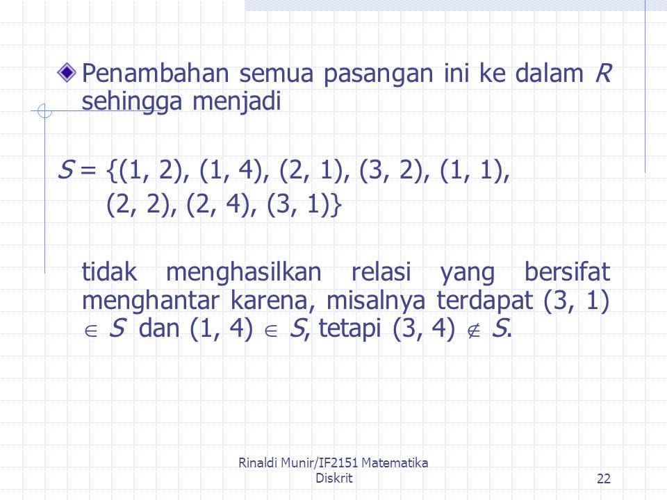 Rinaldi Munir/IF2151 Matematika Diskrit22 Penambahan semua pasangan ini ke dalam R sehingga menjadi S = {(1, 2), (1, 4), (2, 1), (3, 2), (1, 1), (2, 2), (2, 4), (3, 1)} tidak menghasilkan relasi yang bersifat menghantar karena, misalnya terdapat (3, 1)  S dan (1, 4)  S, tetapi (3, 4)  S.