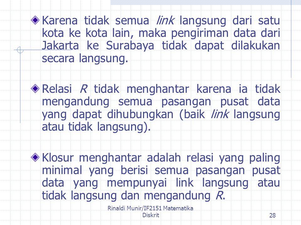 Rinaldi Munir/IF2151 Matematika Diskrit28 Karena tidak semua link langsung dari satu kota ke kota lain, maka pengiriman data dari Jakarta ke Surabaya tidak dapat dilakukan secara langsung.