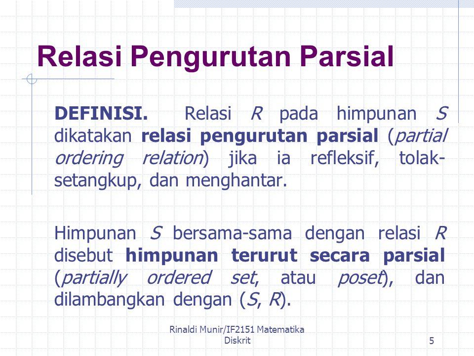 Rinaldi Munir/IF2151 Matematika Diskrit5 Relasi Pengurutan Parsial DEFINISI.