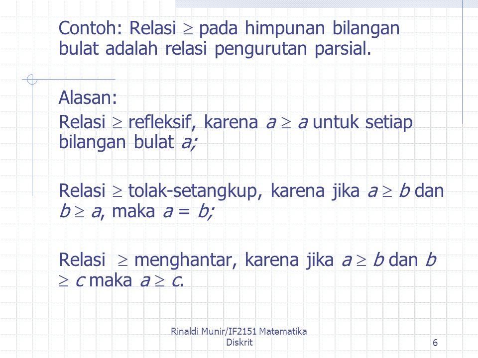 Rinaldi Munir/IF2151 Matematika Diskrit6 Contoh: Relasi  pada himpunan bilangan bulat adalah relasi pengurutan parsial.