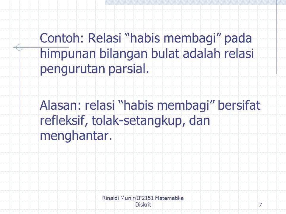 Rinaldi Munir/IF2151 Matematika Diskrit7 Contoh: Relasi habis membagi pada himpunan bilangan bulat adalah relasi pengurutan parsial.
