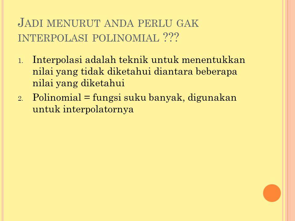 M ETODE INTERPOLASI L AGRANGE 1.Polinomial Lagrange : 1.