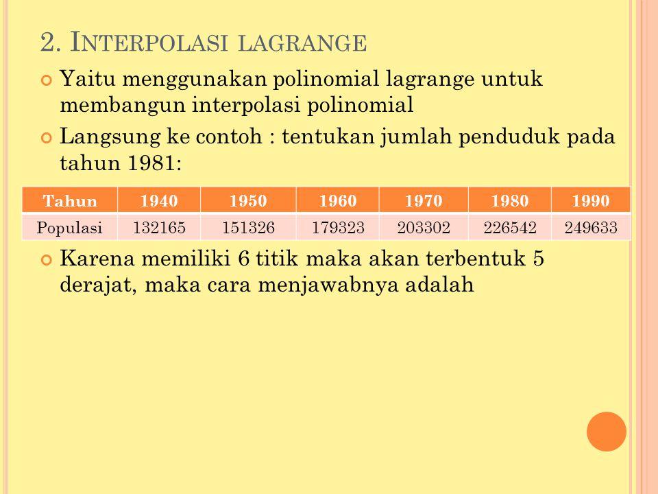 2. I NTERPOLASI LAGRANGE Yaitu menggunakan polinomial lagrange untuk membangun interpolasi polinomial Langsung ke contoh : tentukan jumlah penduduk pa