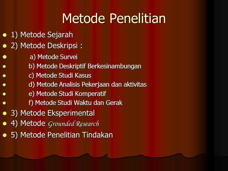 Metode Penelitian 1) Metode Sejarah 1) Metode Sejarah 2) Metode Deskripsi : 2) Metode Deskripsi : a) Metode Survei a) Metode Survei b) Metode Deskript