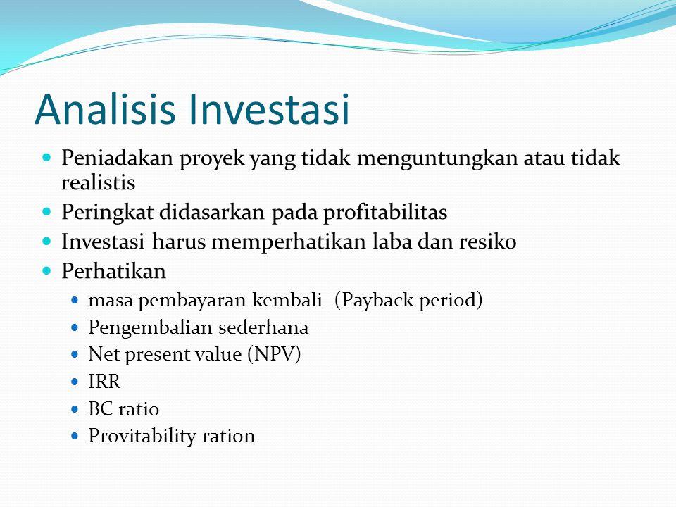 Analisis Investasi Peniadakan proyek yang tidak menguntungkan atau tidak realistis Peringkat didasarkan pada profitabilitas Investasi harus memperhati