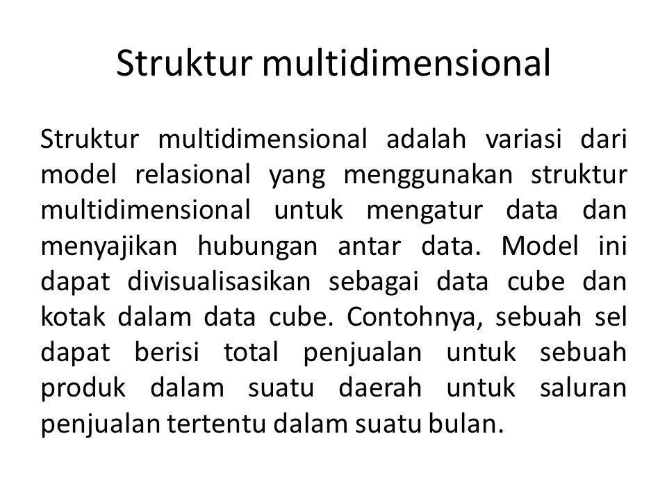 Struktur multidimensional Struktur multidimensional adalah variasi dari model relasional yang menggunakan struktur multidimensional untuk mengatur dat