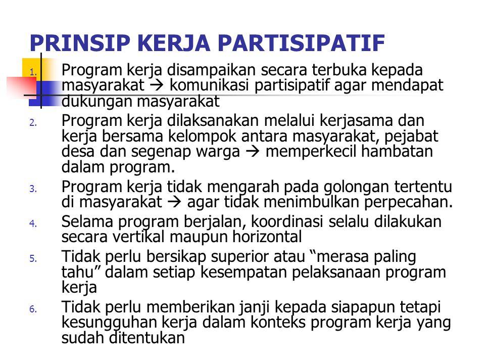 PRINSIP KERJA PARTISIPATIF 1. Program kerja disampaikan secara terbuka kepada masyarakat  komunikasi partisipatif agar mendapat dukungan masyarakat 2