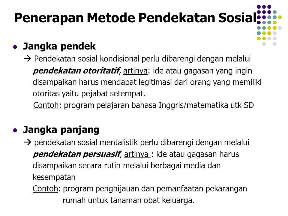 Penerapan Metode Pendekatan Sosial Jangka pendek  Pendekatan sosial kondisional perlu dibarengi dengan melalui pendekatan otoritatif, artinya: ide at