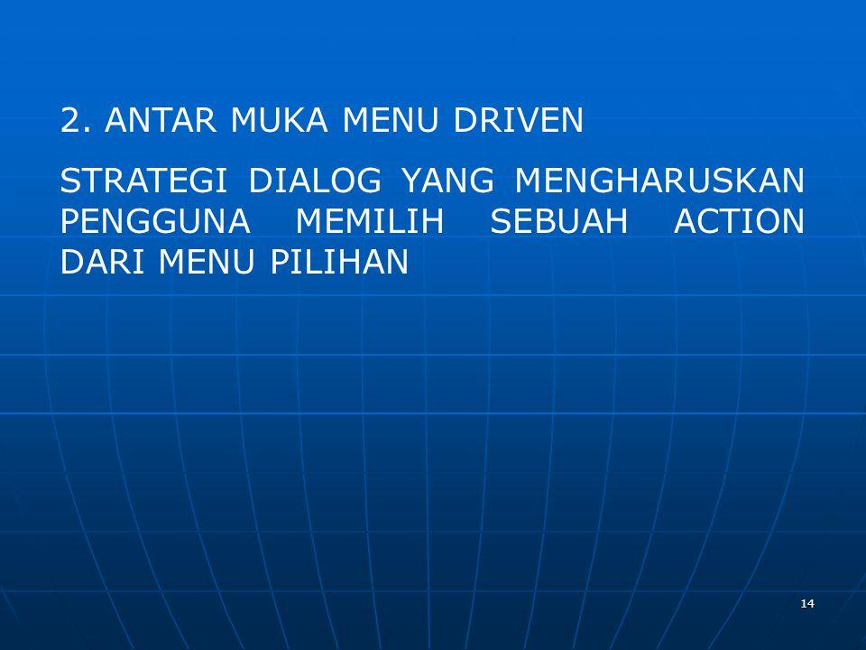 14 2. ANTAR MUKA MENU DRIVEN STRATEGI DIALOG YANG MENGHARUSKAN PENGGUNA MEMILIH SEBUAH ACTION DARI MENU PILIHAN