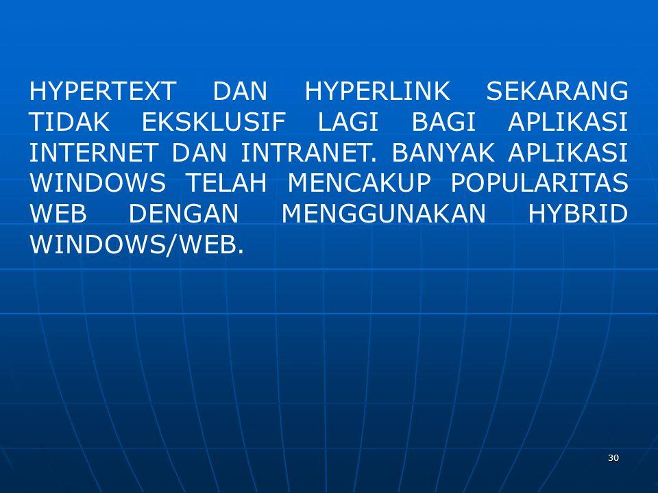30 HYPERTEXT DAN HYPERLINK SEKARANG TIDAK EKSKLUSIF LAGI BAGI APLIKASI INTERNET DAN INTRANET.