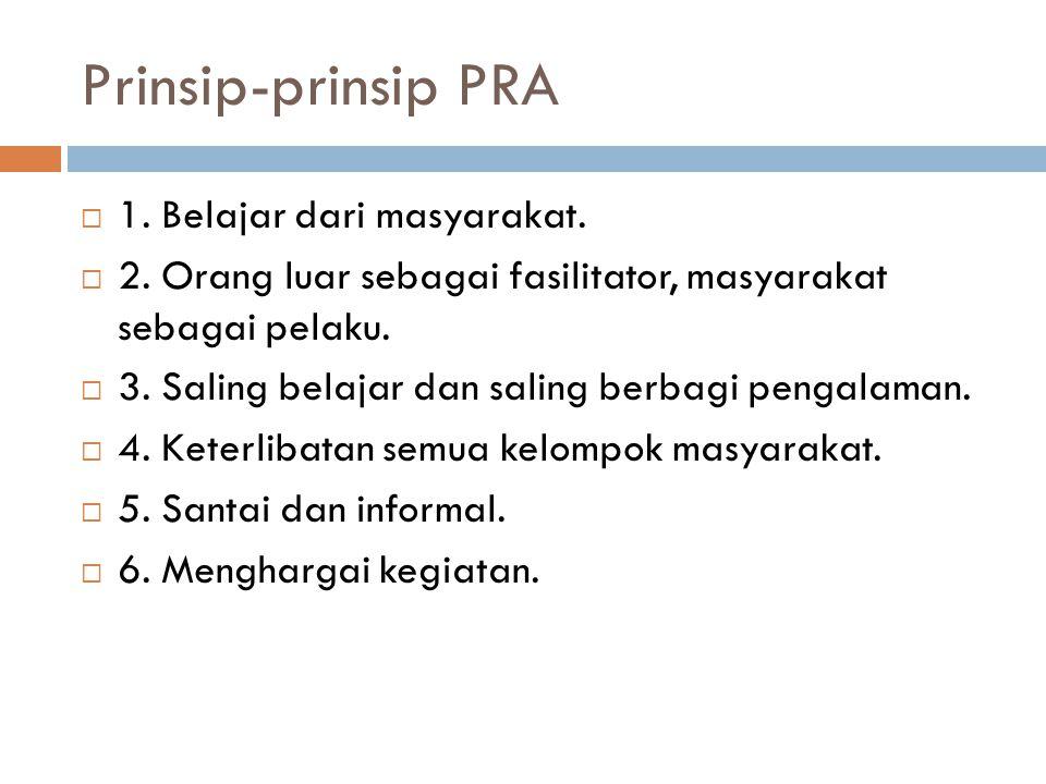 Prinsip-prinsip PRA  1. Belajar dari masyarakat.  2. Orang luar sebagai fasilitator, masyarakat sebagai pelaku.  3. Saling belajar dan saling berba