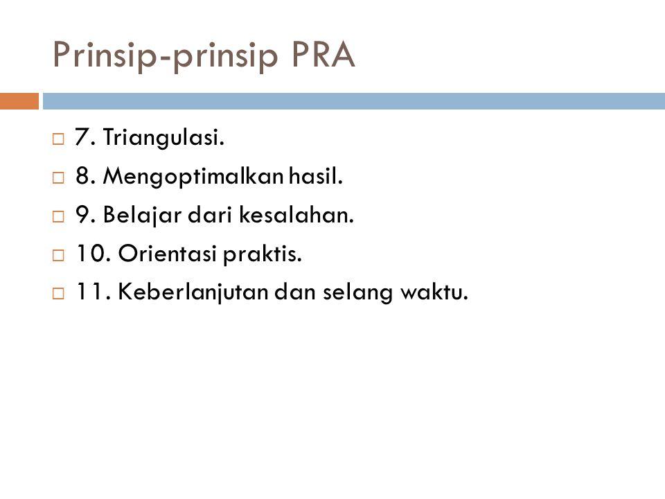 Prinsip-prinsip PRA  7. Triangulasi.  8. Mengoptimalkan hasil.  9. Belajar dari kesalahan.  10. Orientasi praktis.  11. Keberlanjutan dan selang