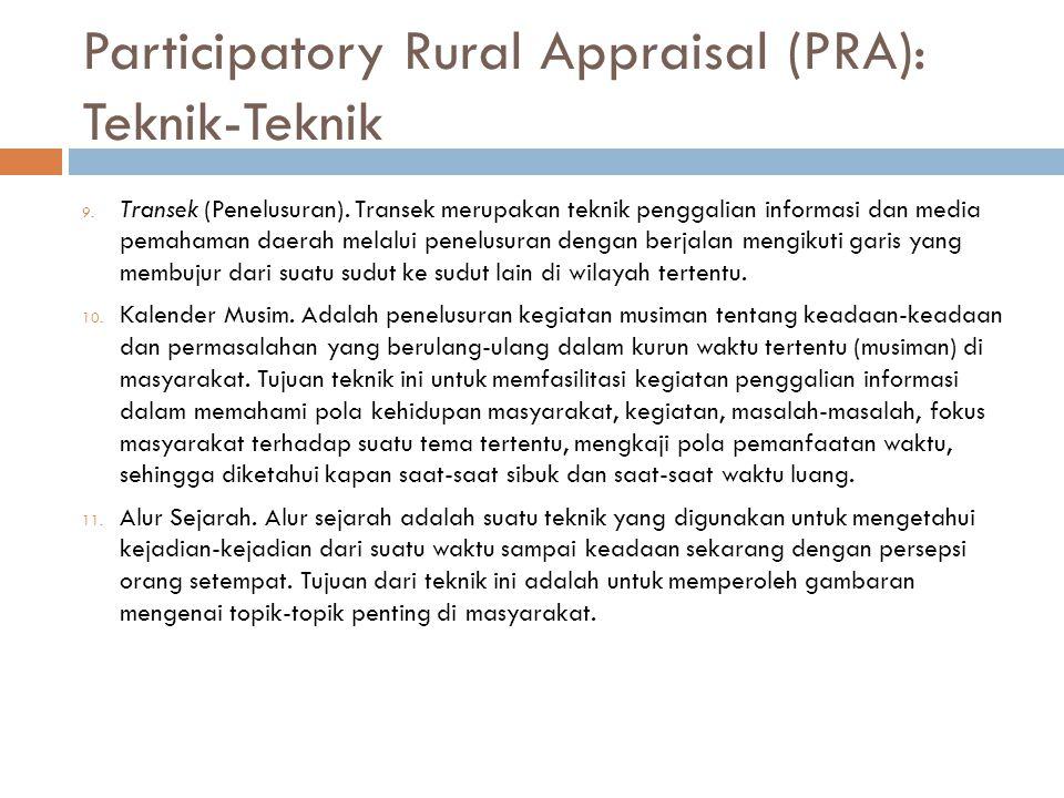 Participatory Rural Appraisal (PRA): Teknik-Teknik 9. Transek (Penelusuran). Transek merupakan teknik penggalian informasi dan media pemahaman daerah