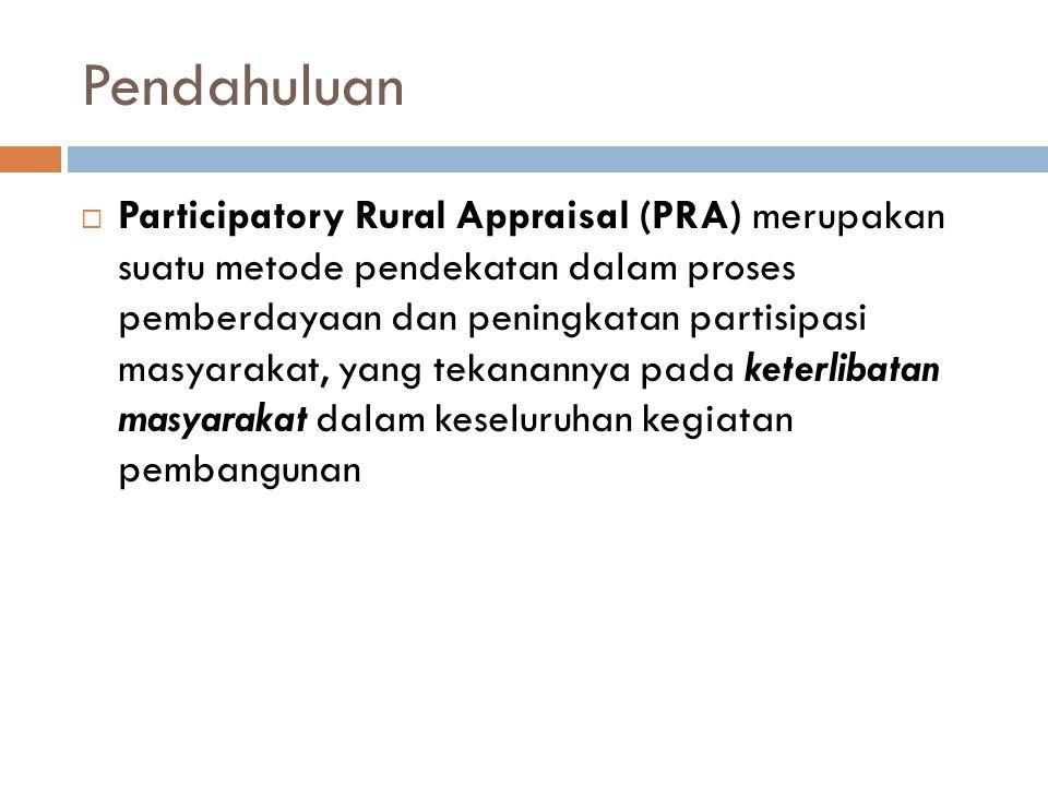 Pendahuluan  Participatory Rural Appraisal (PRA) merupakan suatu metode pendekatan dalam proses pemberdayaan dan peningkatan partisipasi masyarakat,
