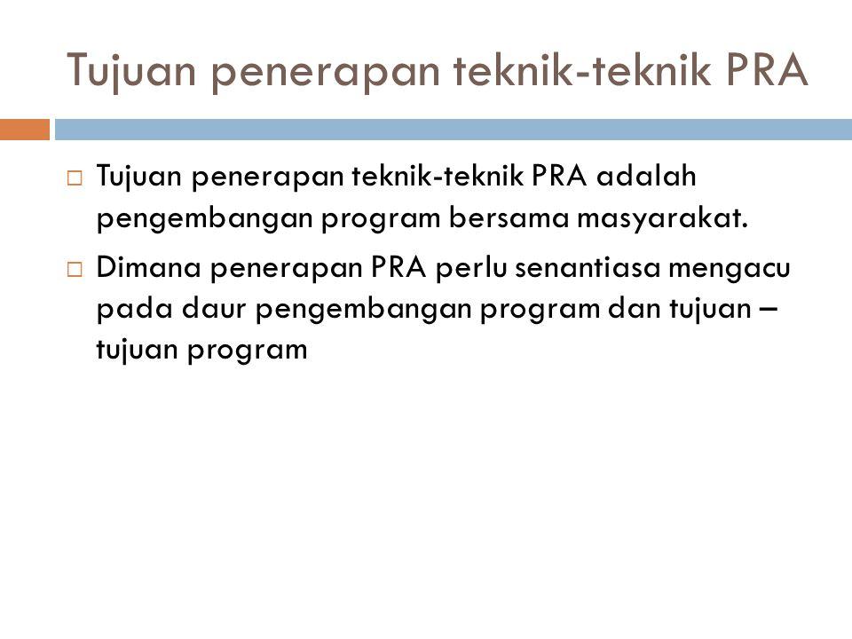 Tujuan penerapan teknik-teknik PRA  Tujuan penerapan teknik-teknik PRA adalah pengembangan program bersama masyarakat.  Dimana penerapan PRA perlu s