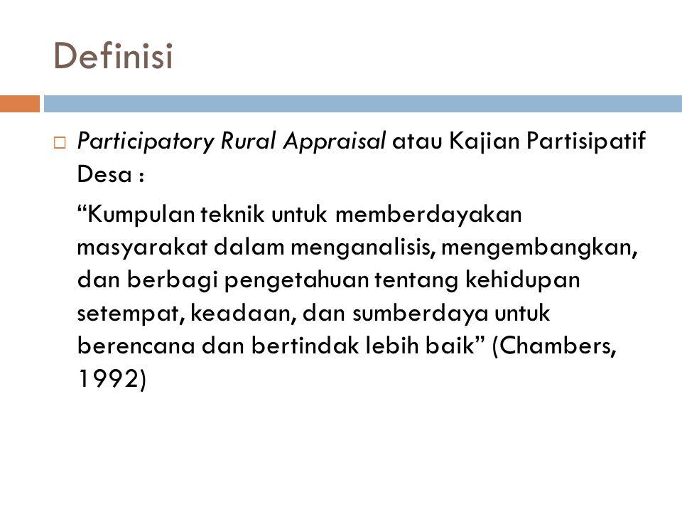 Participatory Rural Appraisal (PRA): Teknik-Teknik 1.