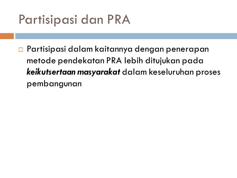 Partisipasi dan PRA  Contoh partisipasi masyarakat dalam pembangunan:  Masyarakat bertanggung jawab untuk melaksanakan kegiatan-kegiatan dari program yang telah ditetapkan pemerintah  Anggota masyarakat berpartisipasi aktif dalam proses pengambilan keputusan.