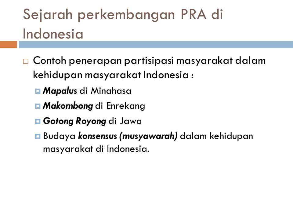 Tahapan penerapan partisipasi di Indonesia :  Tahun 1970 ; Konsep-konsep kemandirian dan prinsip- prinsip pembangunan dari rakyat, oleh rakyat dan untuk rakyat telah dicantumkan dalam GBHN, dimana kebijakan pembangunan masih sangat bersifat sentralistik  Tahun 1980 ; Telah menemukan cara pendekatan dengan partisipasi.