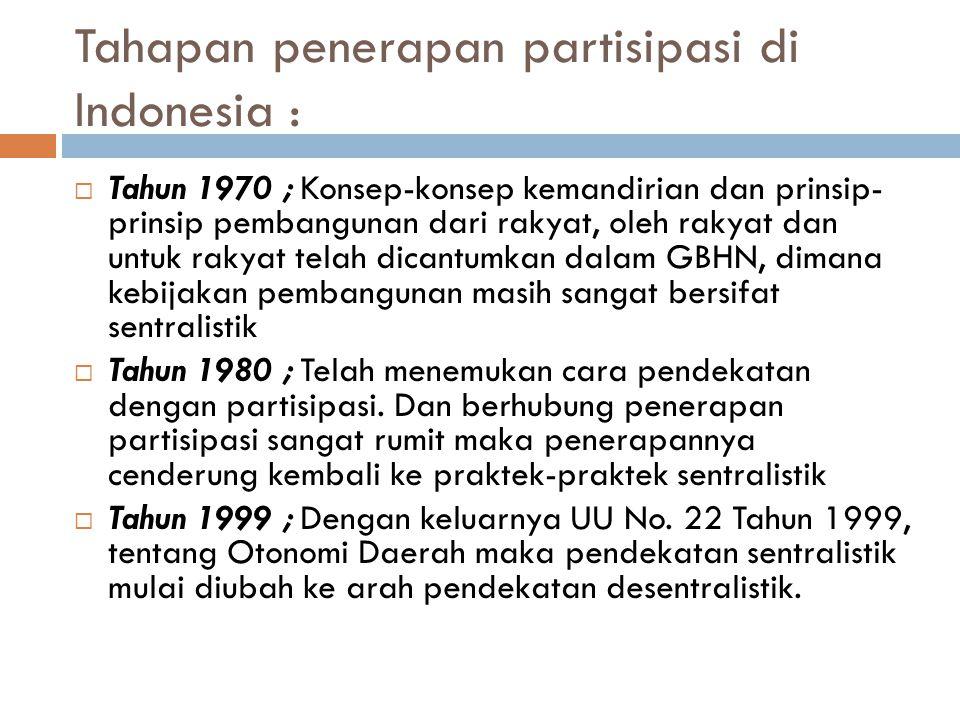 Tahapan penerapan partisipasi di Indonesia :  Tahun 1970 ; Konsep-konsep kemandirian dan prinsip- prinsip pembangunan dari rakyat, oleh rakyat dan un
