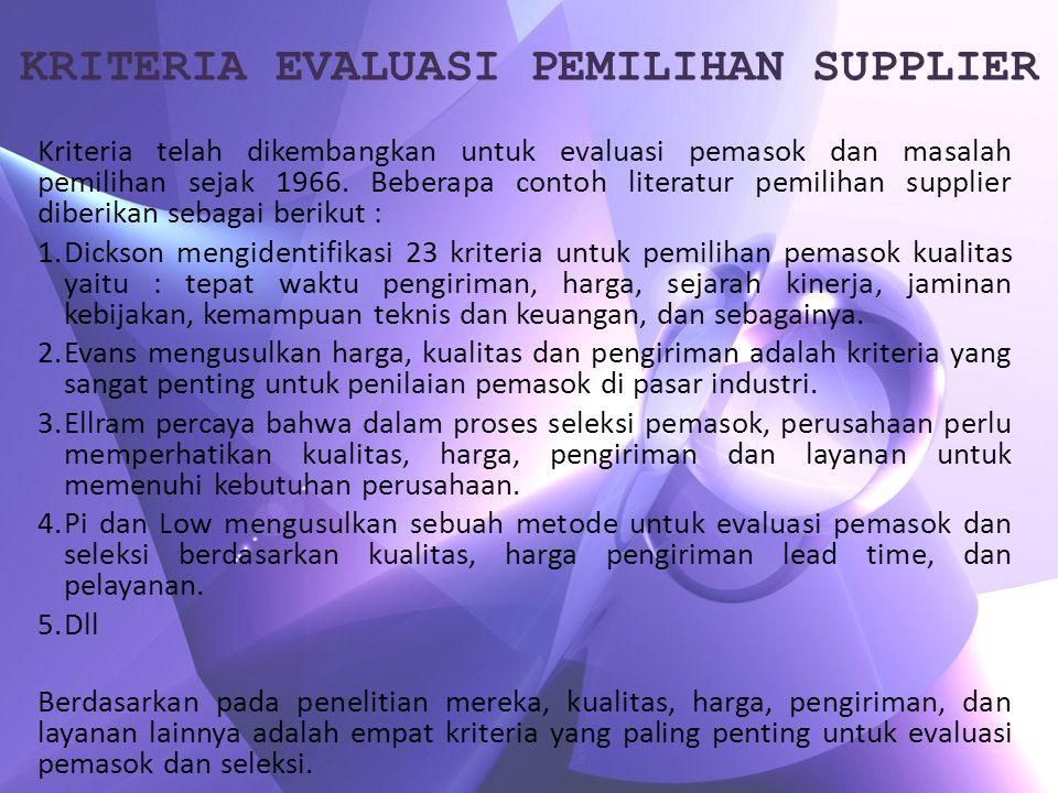KRITERIA EVALUASI PEMILIHAN SUPPLIER Kriteria telah dikembangkan untuk evaluasi pemasok dan masalah pemilihan sejak 1966. Beberapa contoh literatur pe