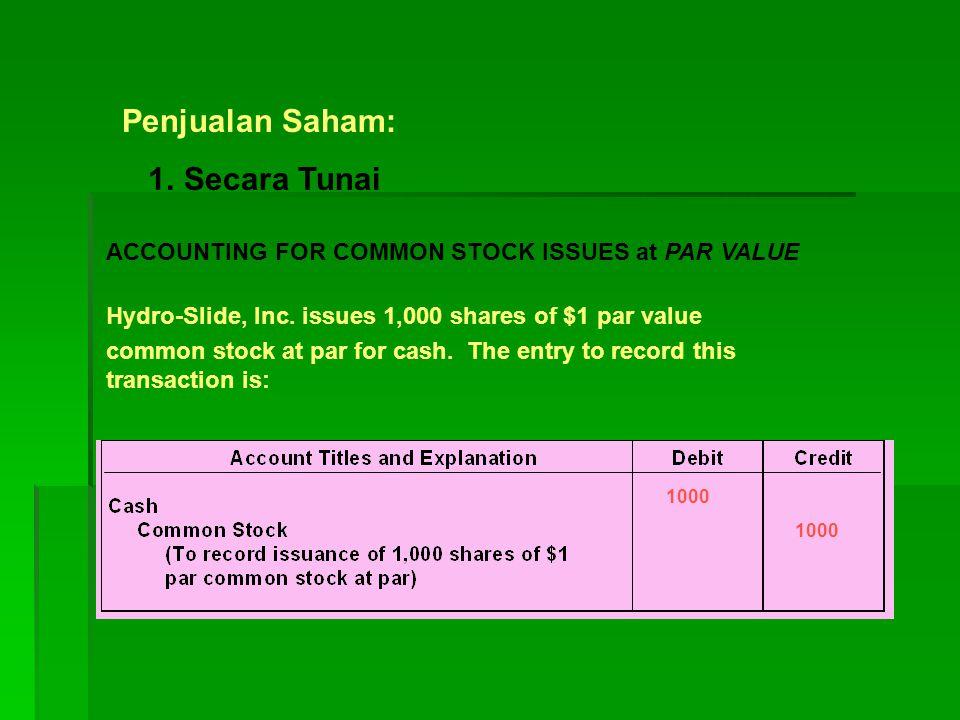 Penjualan Saham: 1. Secara Tunai ACCOUNTING FOR COMMON STOCK ISSUES at PAR VALUE Hydro-Slide, Inc. issues 1,000 shares of $1 par value common stock at