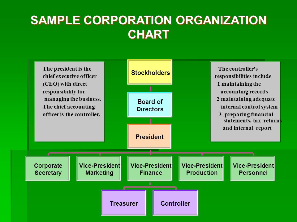 SAMPLE CORPORATION ORGANIZATION CHART Stockholders Board of Directors President Vice-President Finance Vice-President Marketing Corporate Secretary Vice-President Production Vice-President Personnel TreasurerController The president is the The controller's chief executive officer responsibilities include (CEO) with direct 1 maintaining the responsibility for accounting records managing the business.