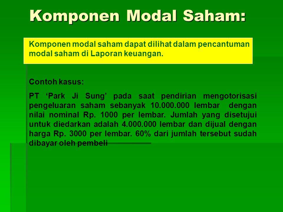 Komponen Modal Saham: Komponen Modal Saham: Komponen modal saham dapat dilihat dalam pencantuman modal saham di Laporan keuangan.