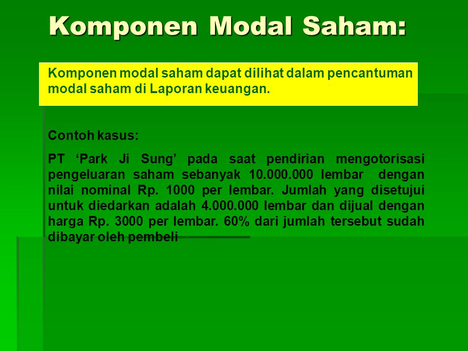 Komponen Modal Saham: Komponen Modal Saham: Komponen modal saham dapat dilihat dalam pencantuman modal saham di Laporan keuangan. Contoh kasus: PT 'Pa