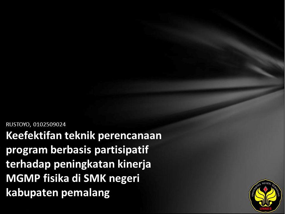 Identitas Mahasiswa - NAMA : RUSTOYO - NIM : 0102509024 - PRODI : Manajemen Pendidikan - JURUSAN : Kurikulum & Teknologi Pendidikan - FAKULTAS : Program Pascasarjana - EMAIL : rustoyospd pada domain yahoo.co.id - PEMBIMBING 1 : Prof.